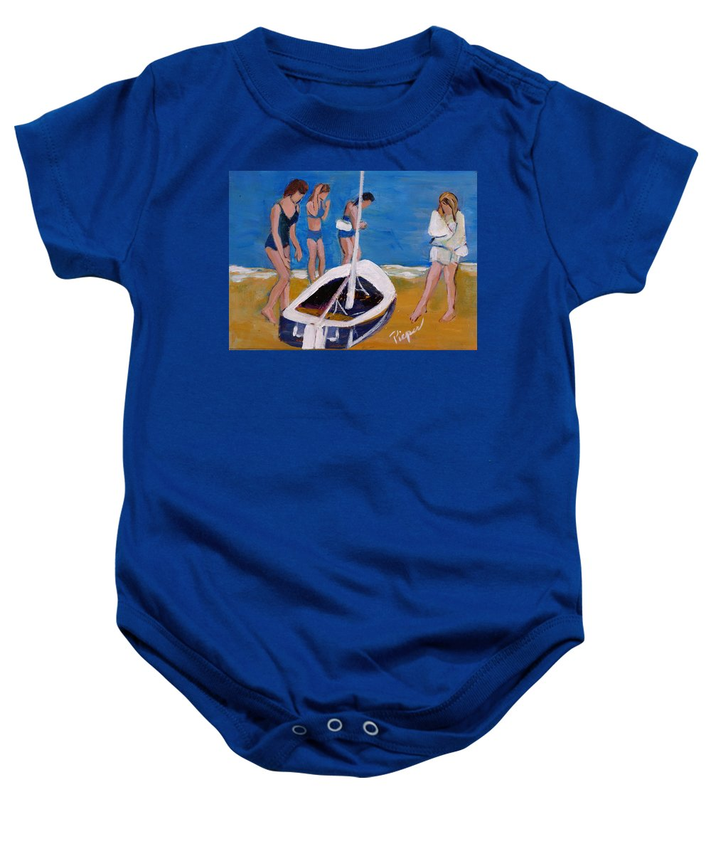 Three Young Women With Sail Boat Baby Onesie featuring the painting Sailing The Wildflower by Betty Pieper