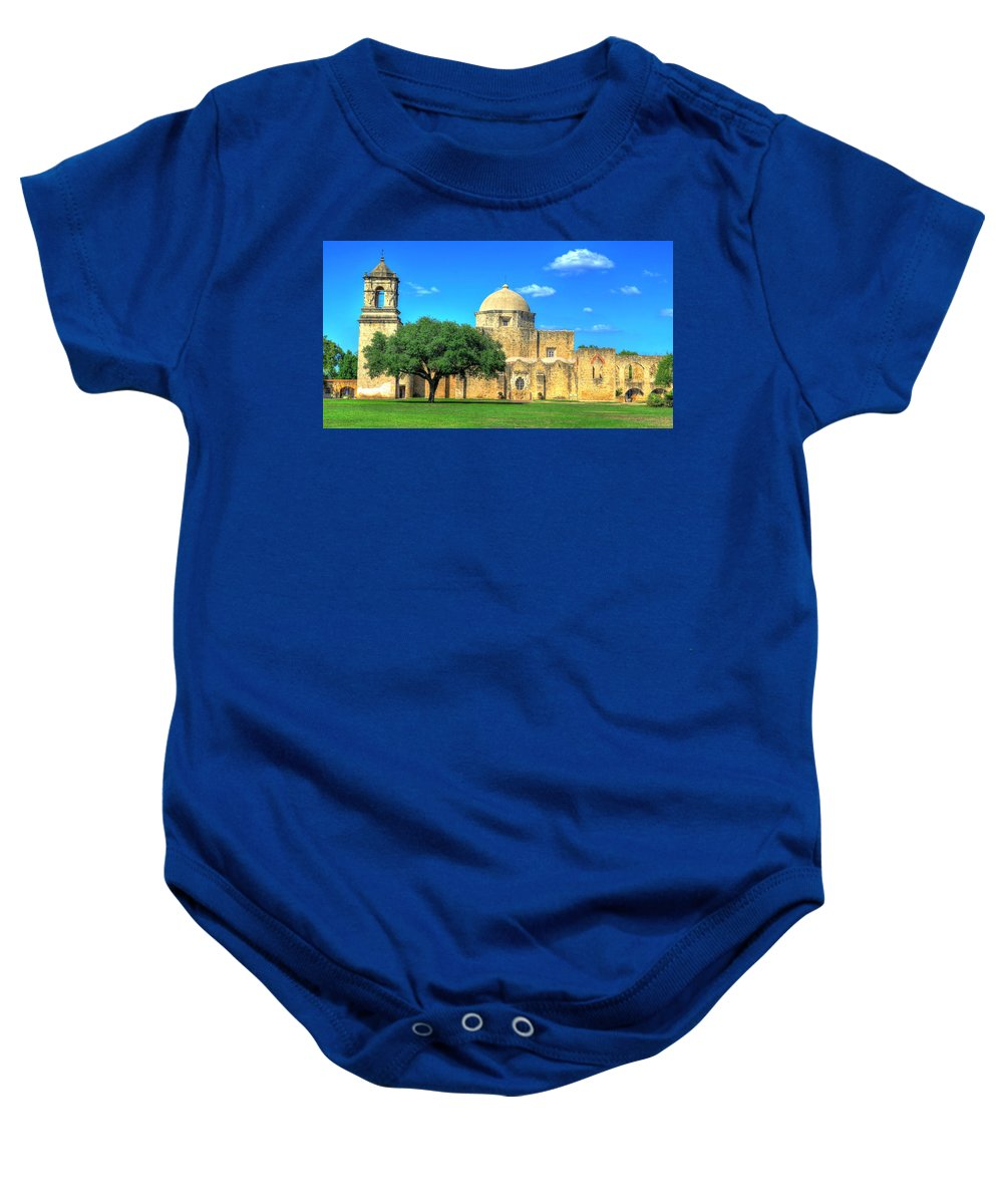 San Jose Baby Onesie featuring the photograph San Jose Mission 3 by David Morefield