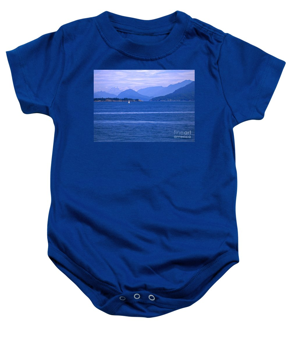 Sailboat Baby Onesie featuring the photograph Solitary Sailing by Ann Horn