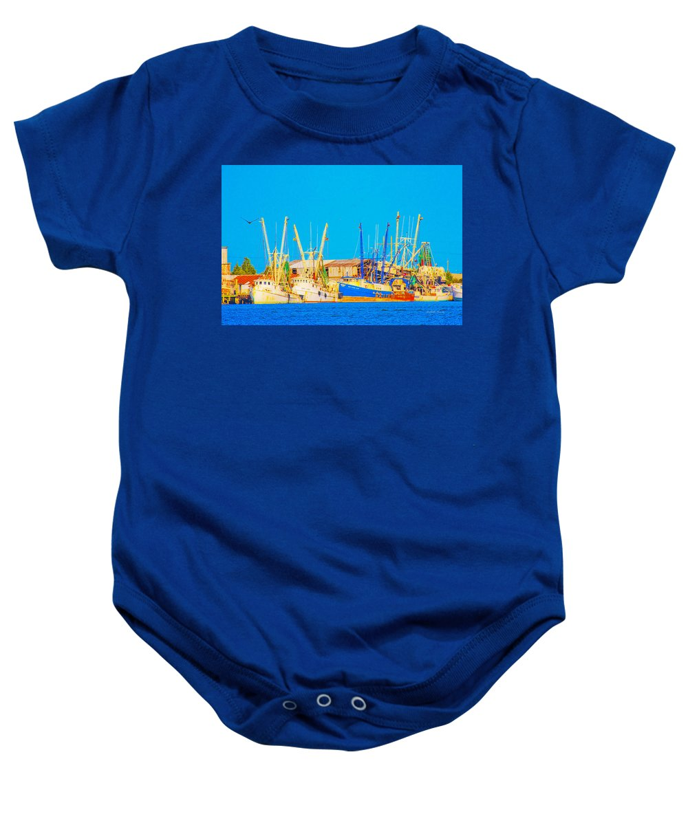 Harbor Baby Onesie featuring the digital art Sos 4 by Betsy Knapp