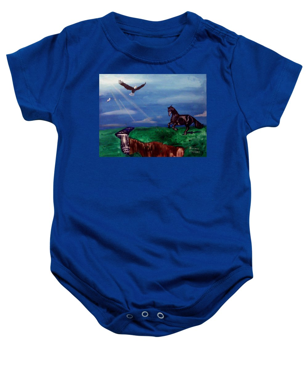 Eagle Baby Onesie featuring the painting Strenght And Flight by Burma Brown