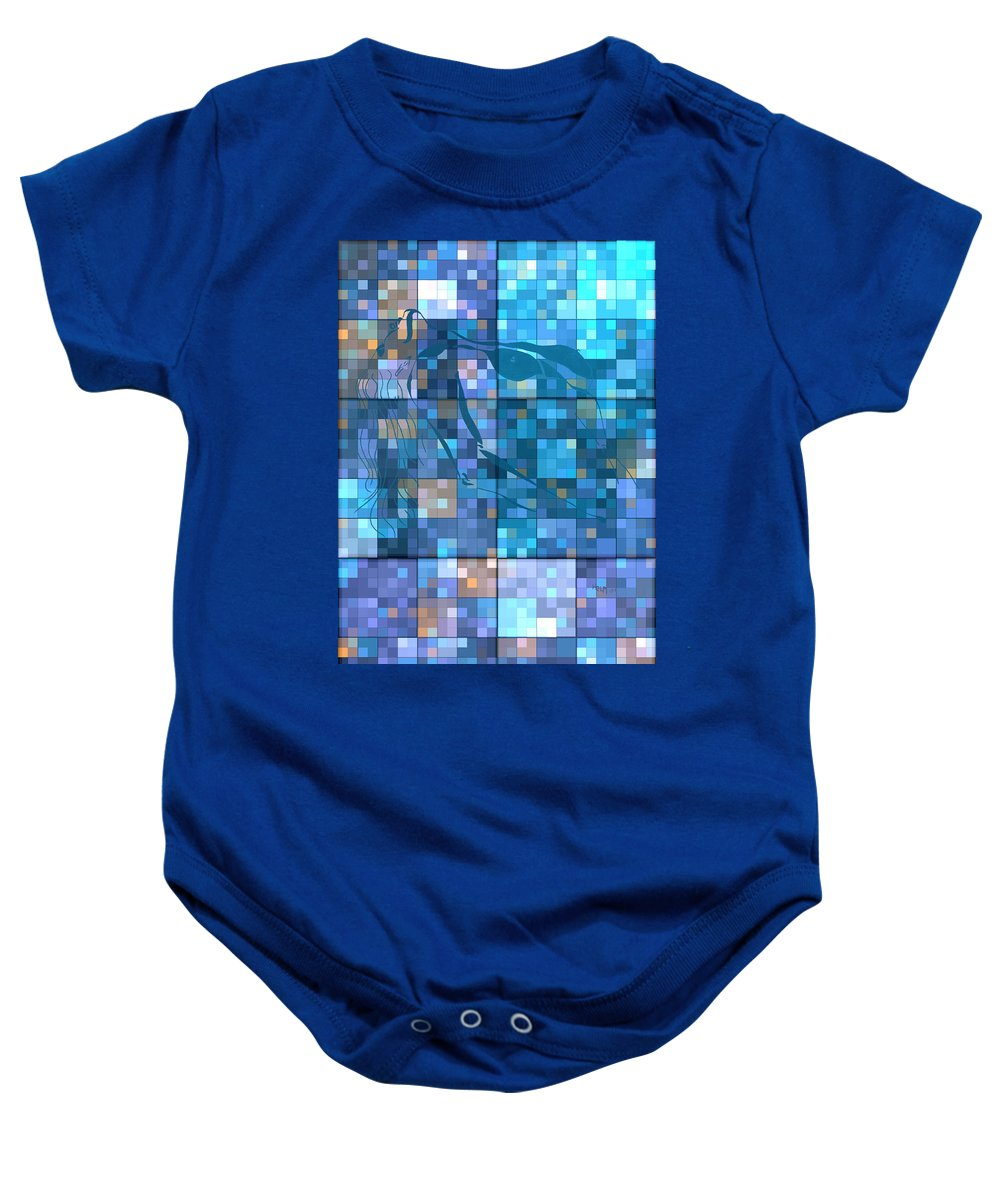 Hearts Digital Art Baby Onesie featuring the digital art Take Me Geometric Blue by Mayhem Mediums