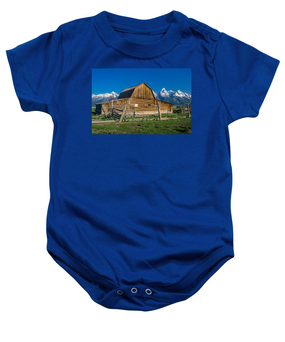 Mormon Row Baby Onesie featuring the photograph Teton Barn by Greg Nyquist