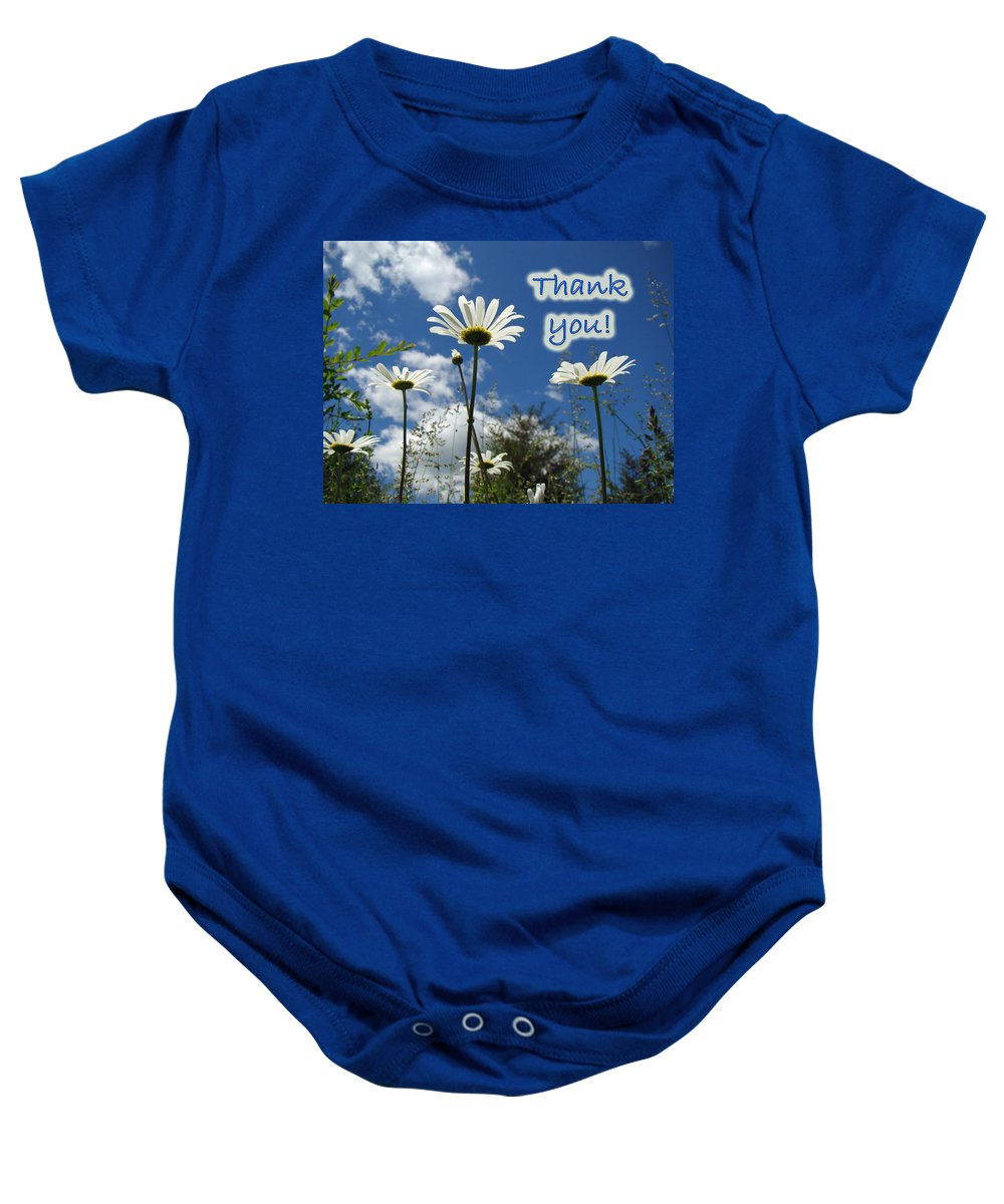 Thanks Baby Onesie featuring the photograph Thank You Greeting Card - Oxeye Daisy Wildflowers by Mother Nature