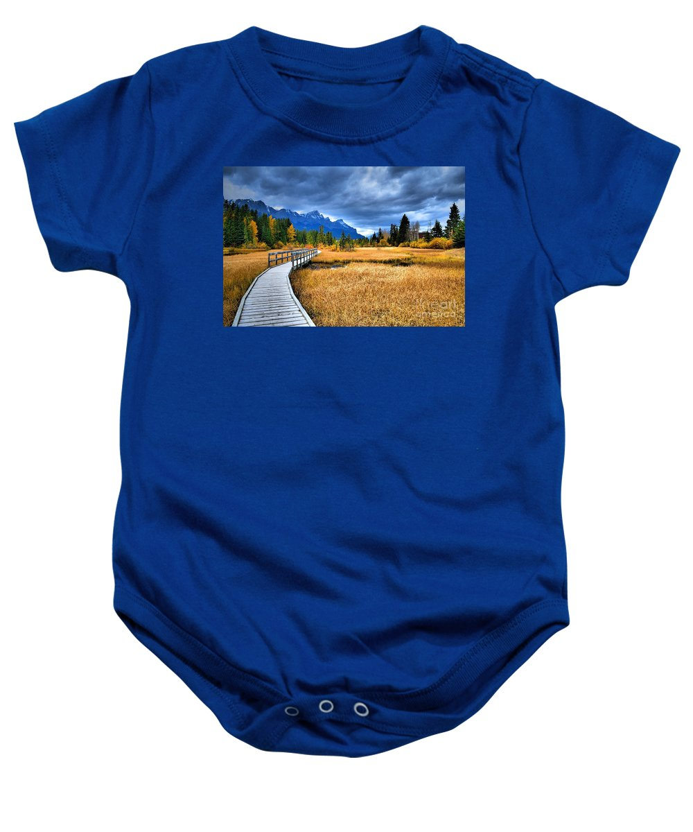 Canmore Baby Onesie featuring the photograph The Boardwalk by Tara Turner