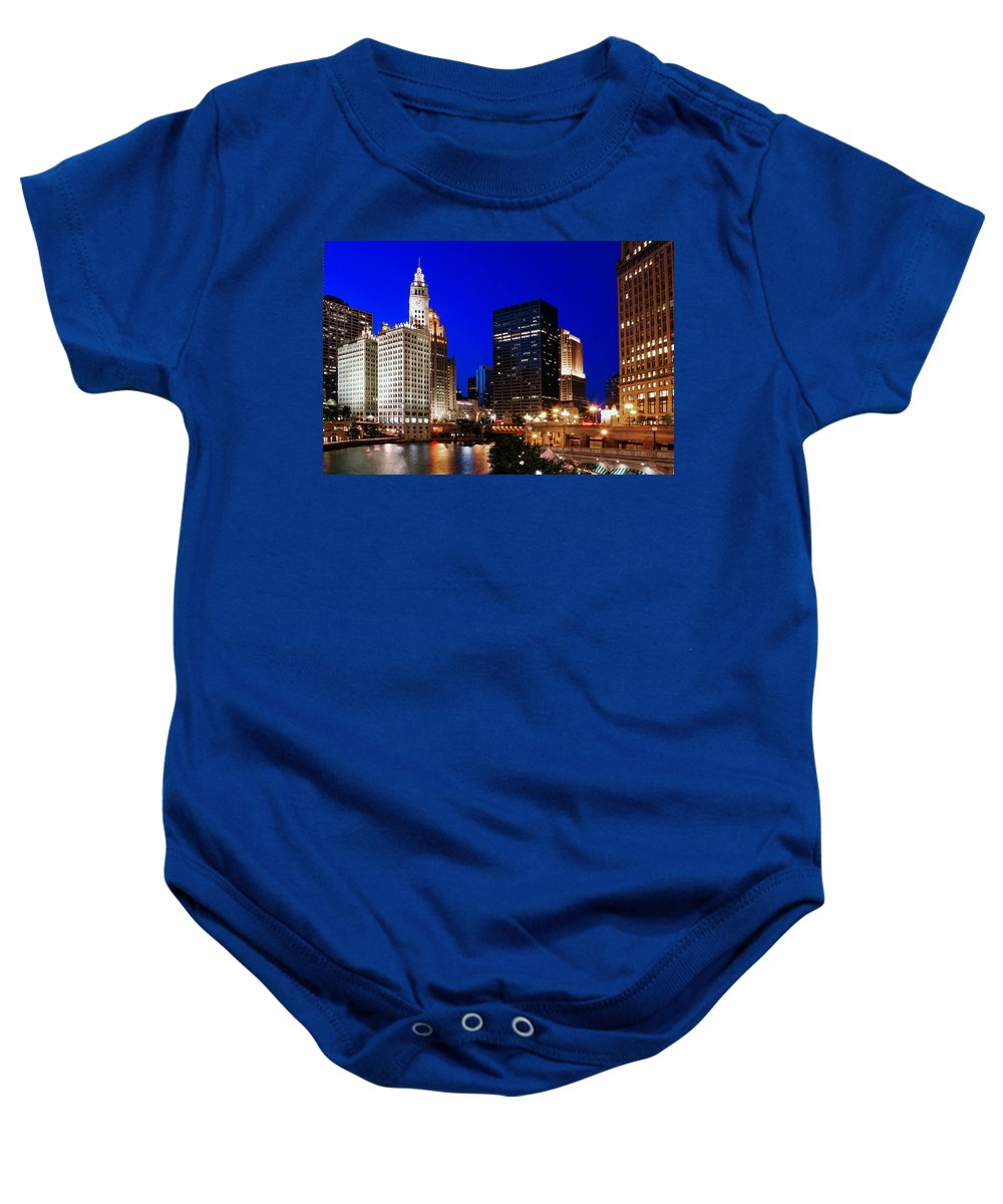 Chicago Baby Onesie featuring the photograph The Chicago River by Rick Berk