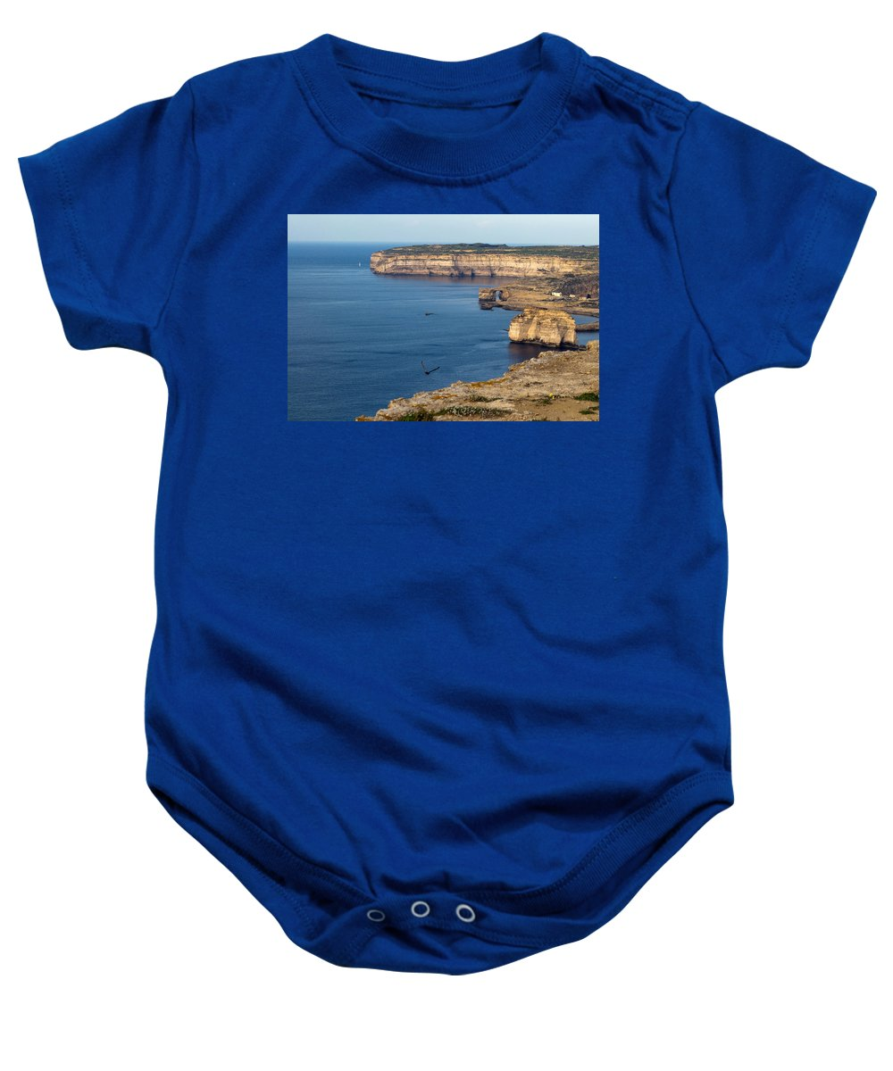 Calm Baby Onesie featuring the photograph The Flight Over Dwejra by Focus Fotos