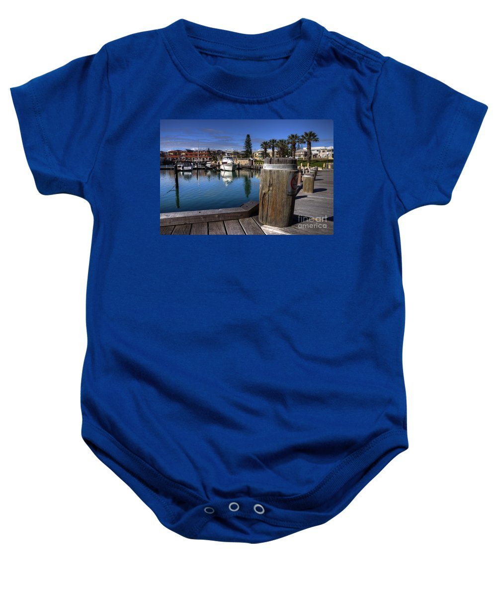 Mindaria Baby Onesie featuring the photograph The Harbour At Mindarie by Rob Hawkins