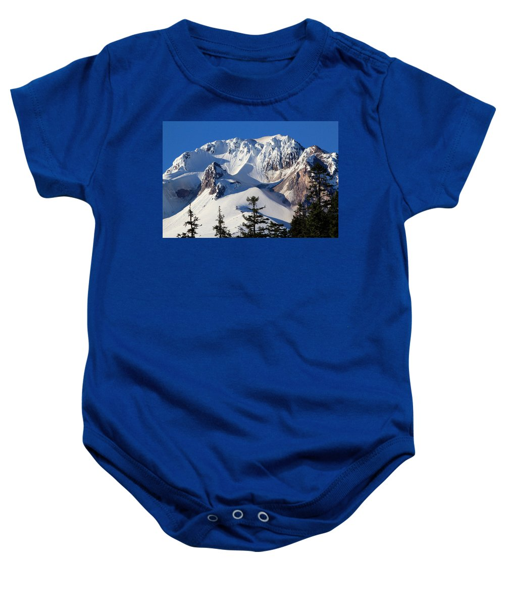 Mount Hood Baby Onesie featuring the photograph Top Of Mt. Hood by Athena Mckinzie
