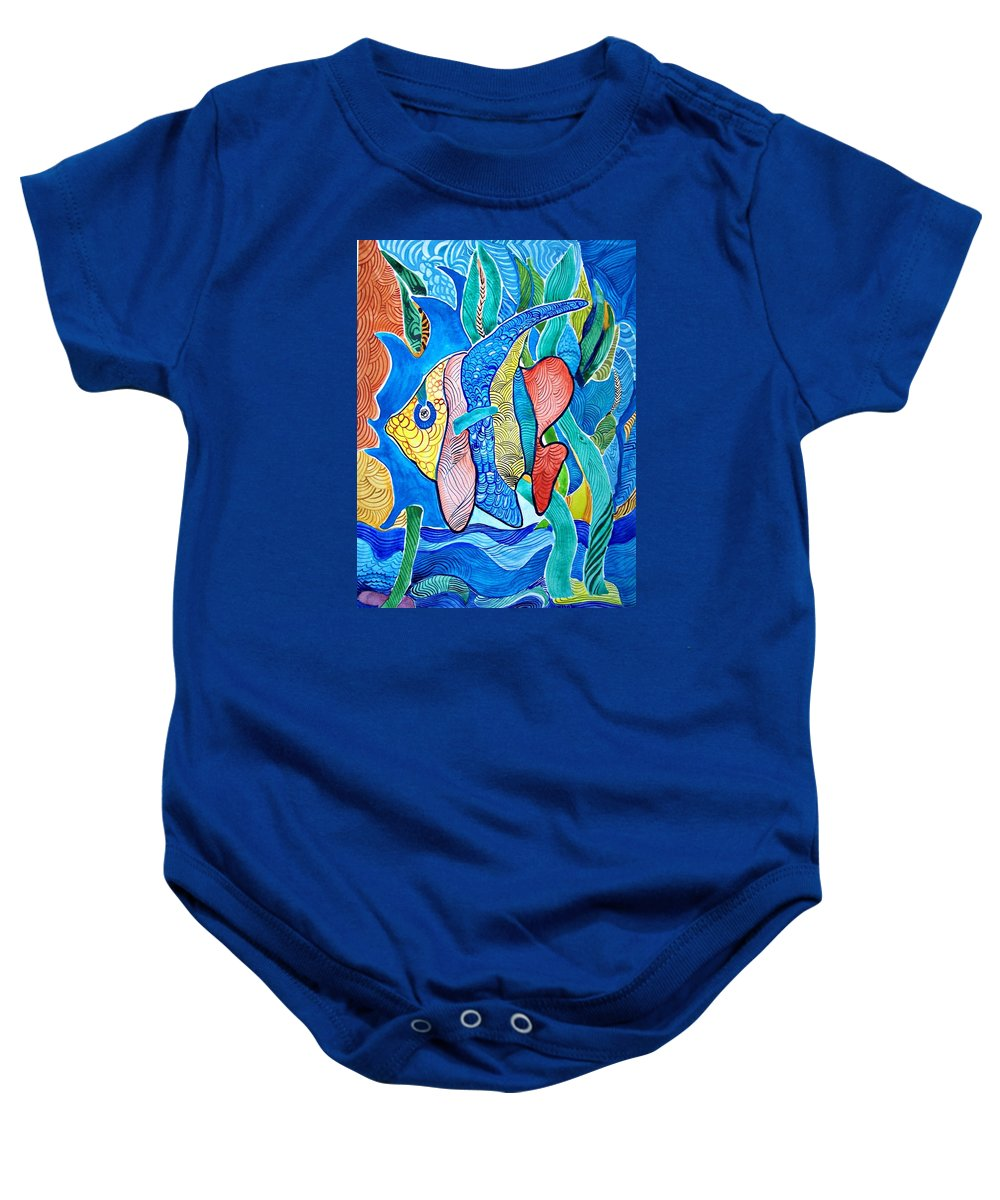 Watercolor Fish Prints Baby Onesie featuring the painting Under The Sea by Sandra Lira