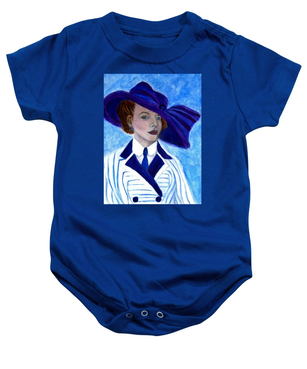 Lady In Hat Baby Onesie featuring the painting Victoria by The Art With A Heart By Charlotte Phillips