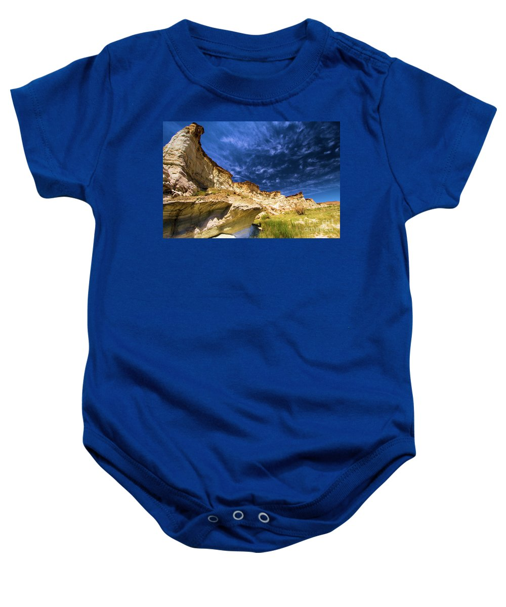 Wahweap Hoodoos Baby Onesie featuring the photograph Wahweap Hoodoo Trail by Adam Jewell