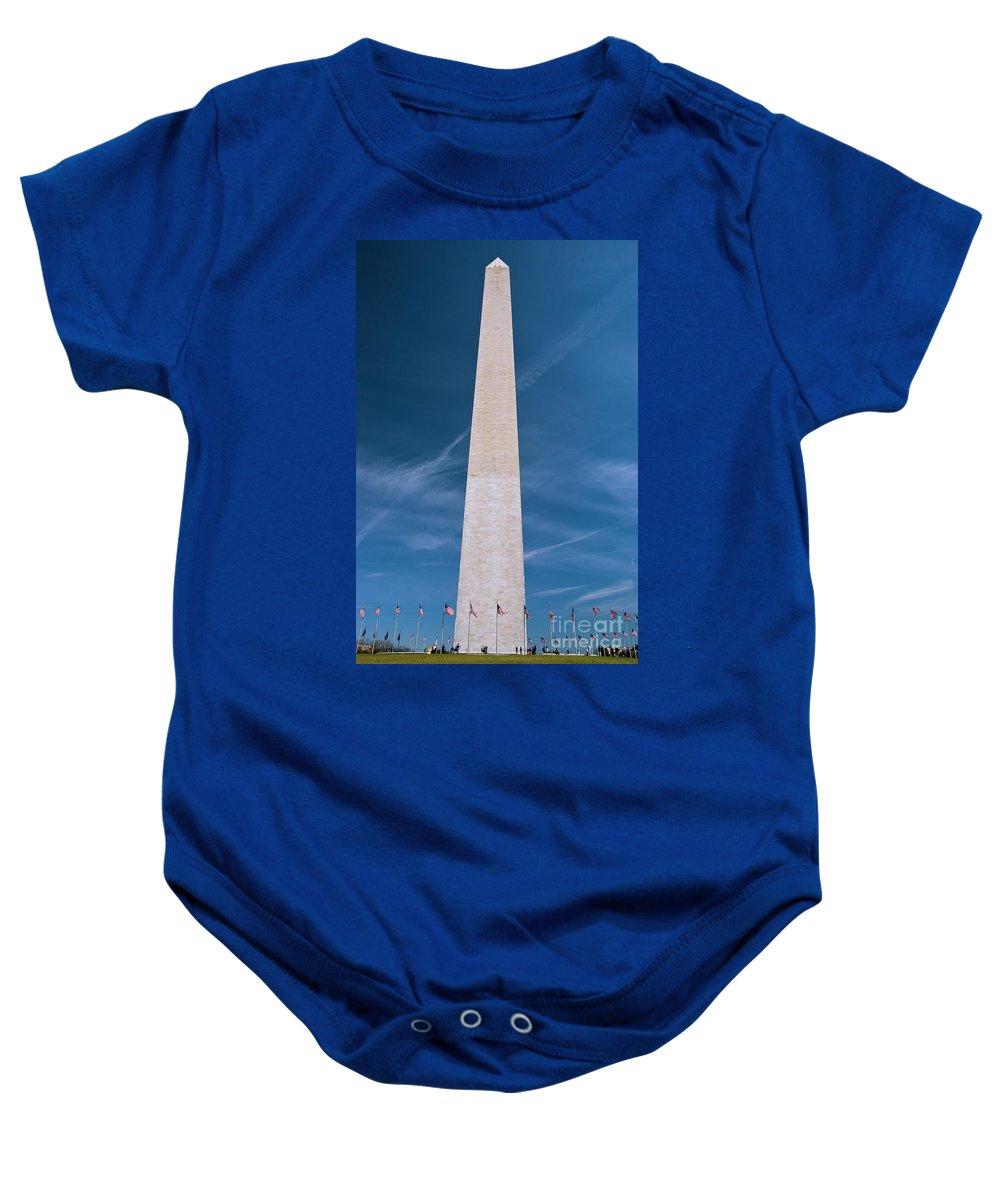 Washington Monument Baby Onesie featuring the photograph Washington Monument And Flags by Tim Mulina