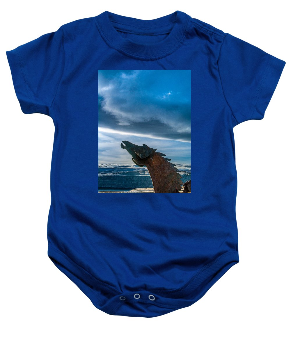 Wild Horses Baby Onesie featuring the photograph Wild Horse Sculpture by Mike Penney