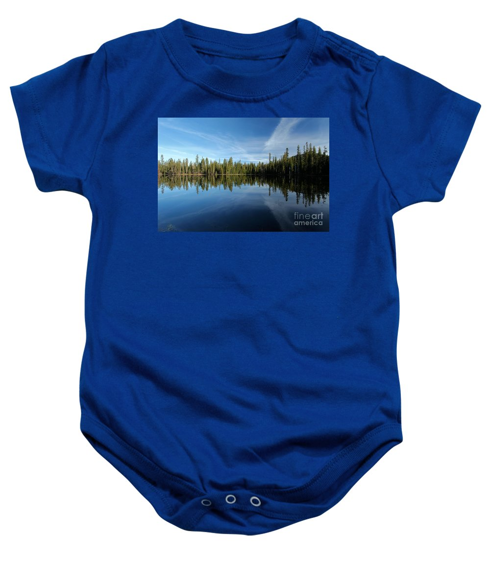 Summit Lake Baby Onesie featuring the photograph Wings In The Lake by Adam Jewell