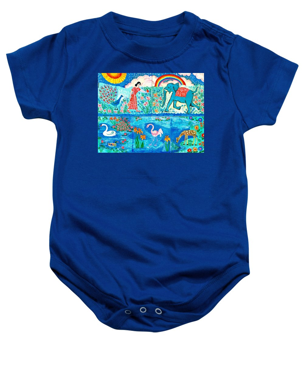 Elephant Baby Onesie featuring the painting Woman And Blue Elephant Beside The Lake by Sushila Burgess