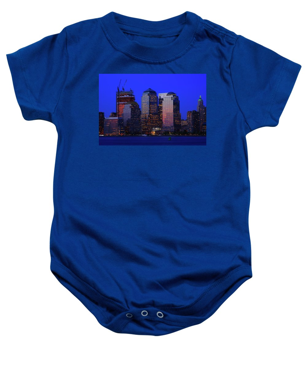 Manhattan Baby Onesie featuring the photograph World Financial Center New York by Rick Berk