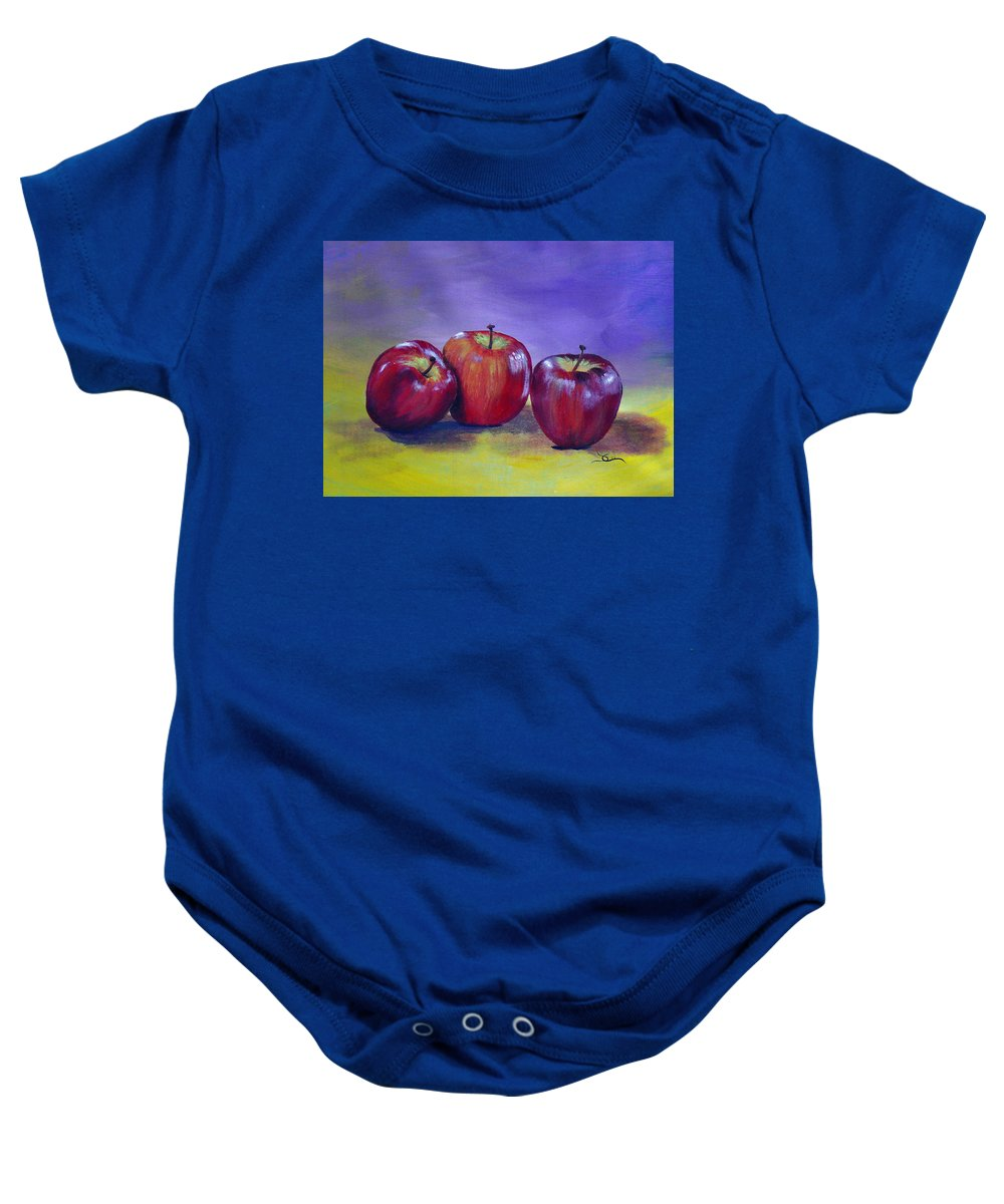 Apple Baby Onesie featuring the painting Yummy Apples by Dee Carpenter