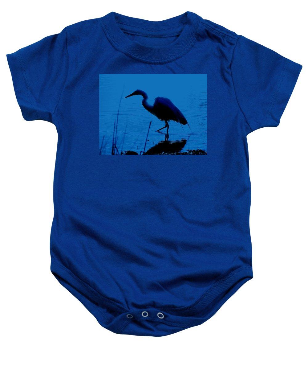 Heron Baby Onesie featuring the painting Heron In Water by Jeelan Clark