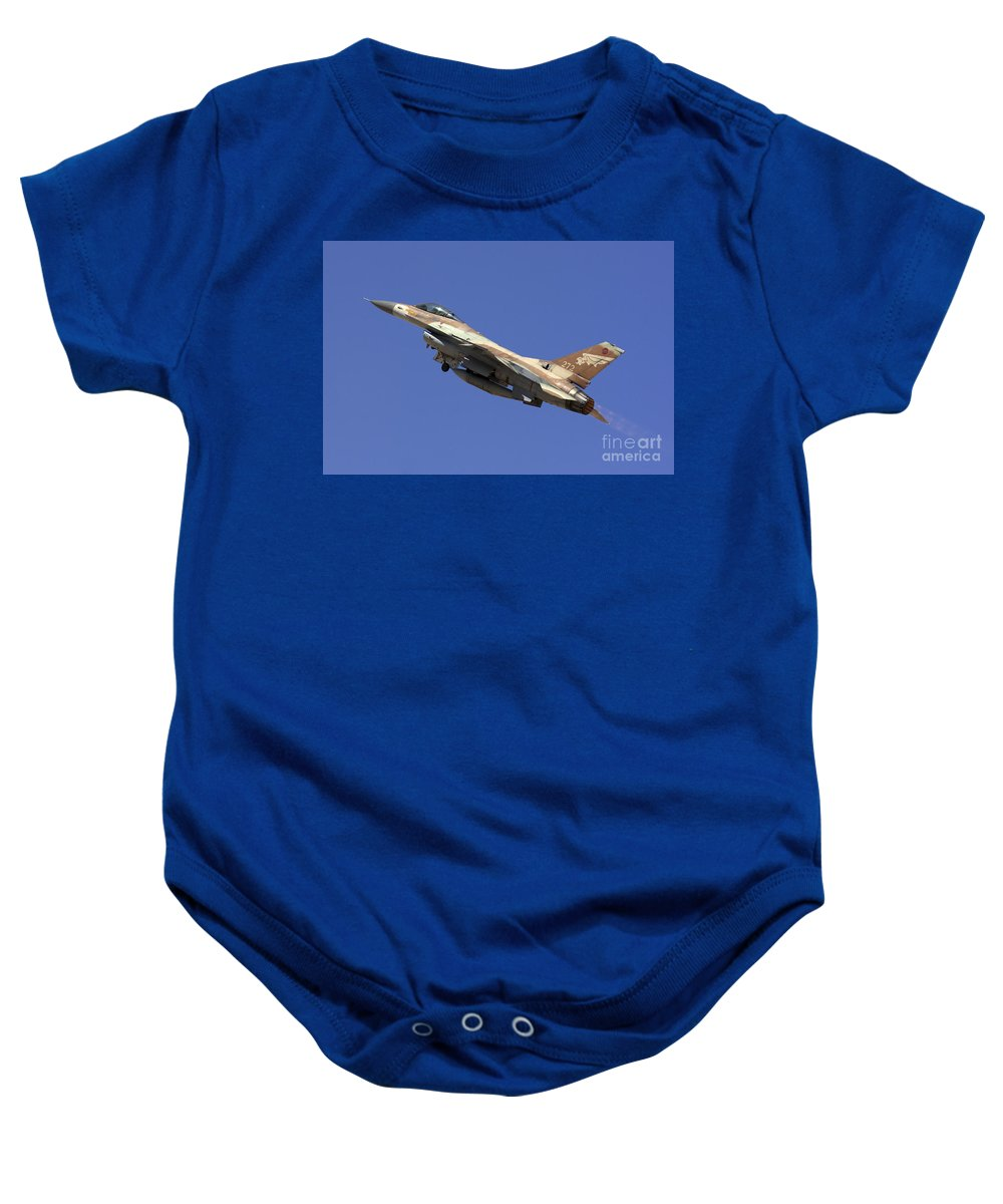 Aircraft Baby Onesie featuring the photograph Iaf F-16a Fighter Jet On Blue Sky by Nir Ben-Yosef