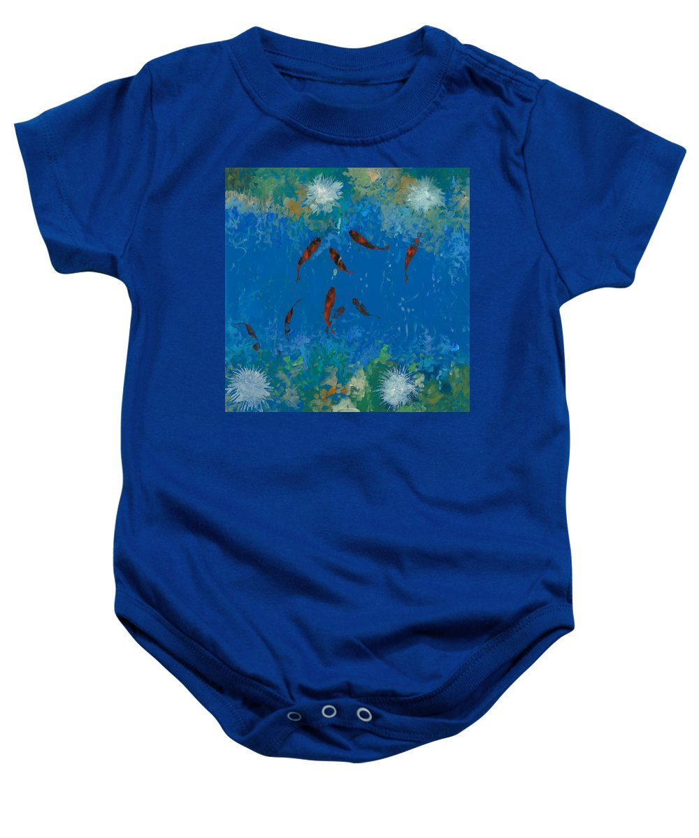 Fishscape Baby Onesie featuring the painting 9 Pesciolini Rossi by Guido Borelli