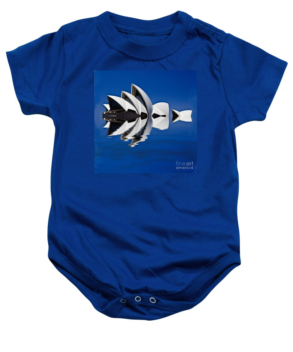 Sydney Opera House Baby Onesie featuring the photograph Abstract Of Sydney Opera House by Sheila Smart Fine Art Photography
