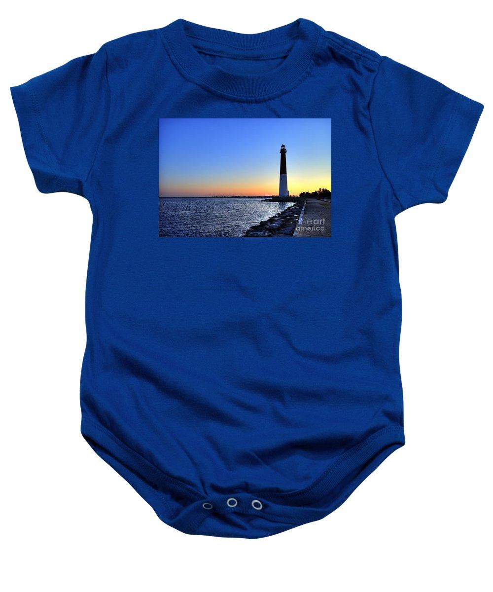 Atlantic Coast Baby Onesie featuring the photograph Barnegat Lighthouse by John Greim