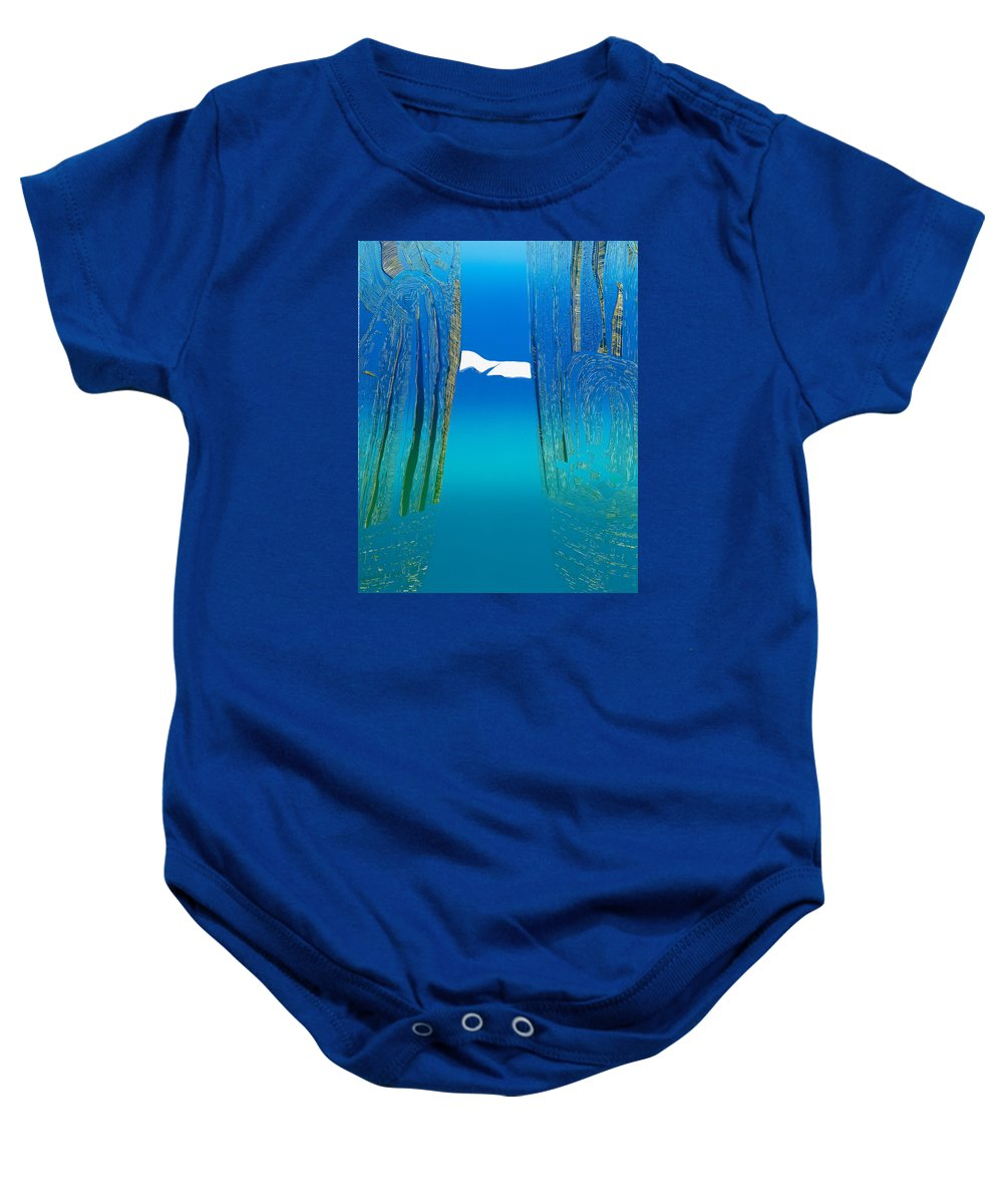 Landscape Baby Onesie featuring the mixed media Between Two Mountains. by Jarle Rosseland