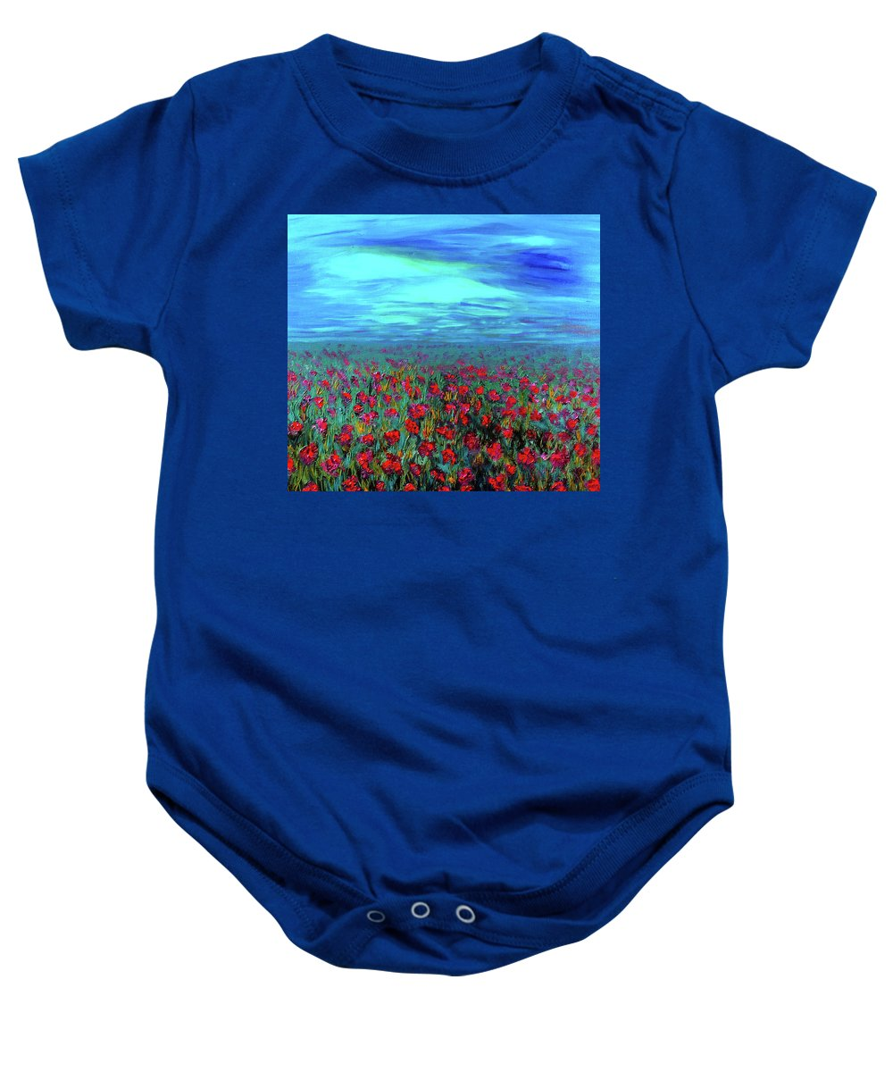 Flowers Baby Onesie featuring the painting Field Of Dreams by Deb Wolf
