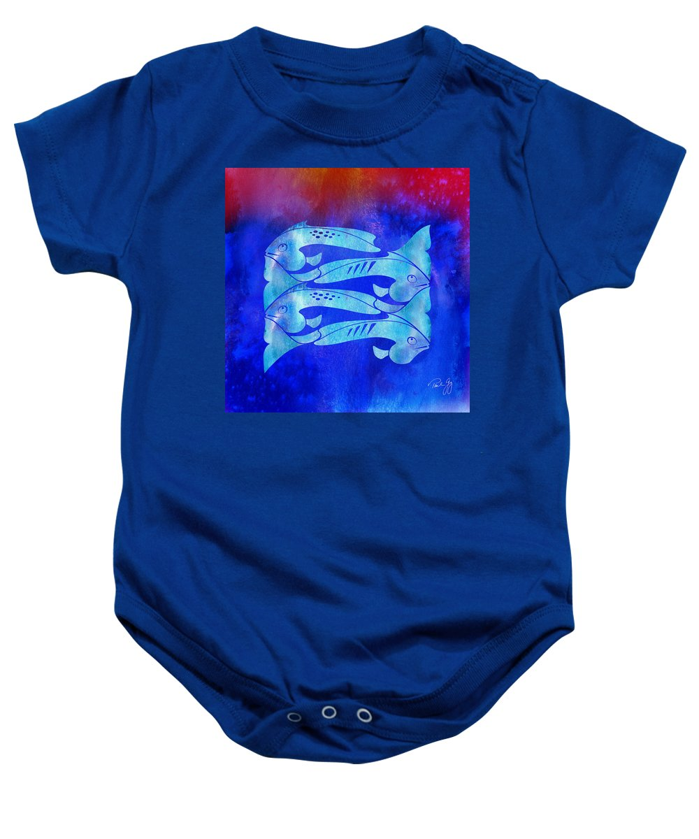 Fish Baby Onesie featuring the mixed media 1 Fish 2 Fish by Paul Gaj