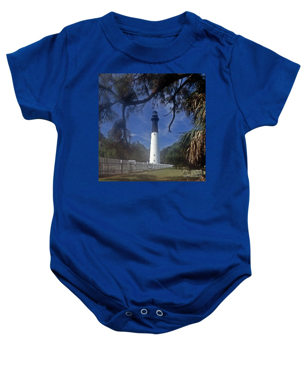Lighthouses Baby Onesie featuring the photograph Lh 8-3 Hunting Island Lighthouse Sc by Skip Willits