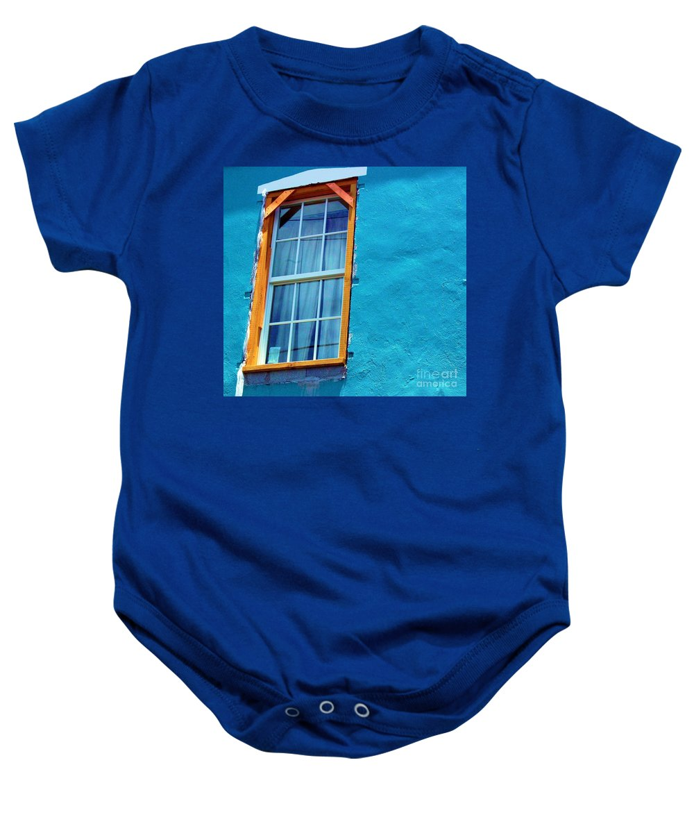 Window Baby Onesie featuring the photograph I Got The Blues by Debbi Granruth