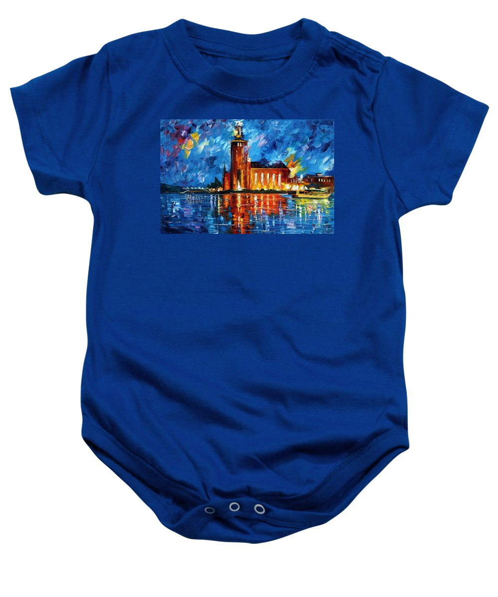 Boat Baby Onesie featuring the painting Lighthouse by Leonid Afremov
