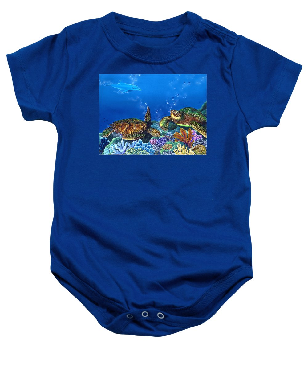 Turtles Baby Onesie featuring the painting Lunchtime by Angie Hamlin