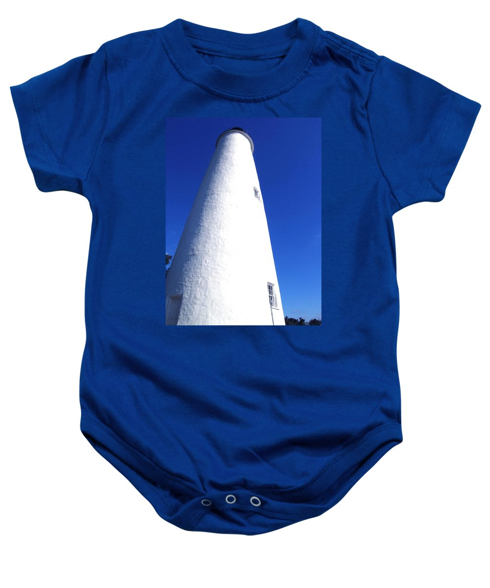 Ocracoke Baby Onesie featuring the photograph Ocracoke Island Light House by Wayne Potrafka