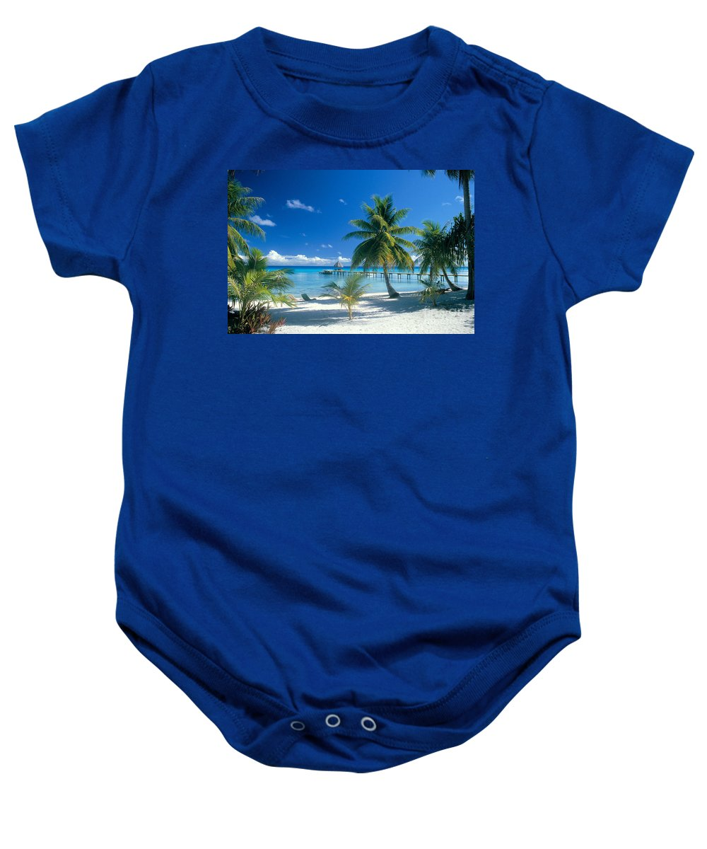 Blue Baby Onesie featuring the photograph Rangiroa Atoll, Kia Ora by Peter Stone - Printscapes