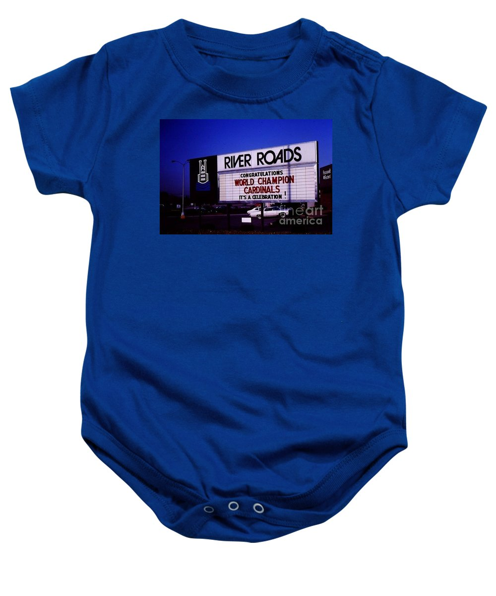 River Baby Onesie featuring the photograph River Roads Mall Marquee Sign by Dwayne Pounds
