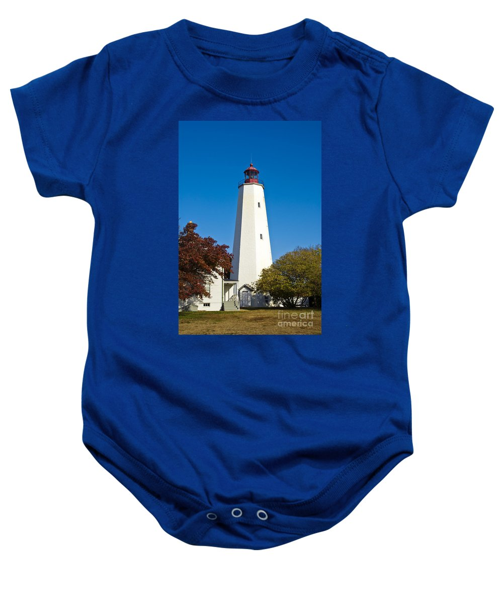 New Jersey Baby Onesie featuring the photograph Sandy Hook Lighthouse by John Greim