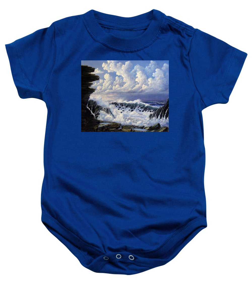 Seascape Baby Onesie featuring the painting Storm Approach by John Cocoris