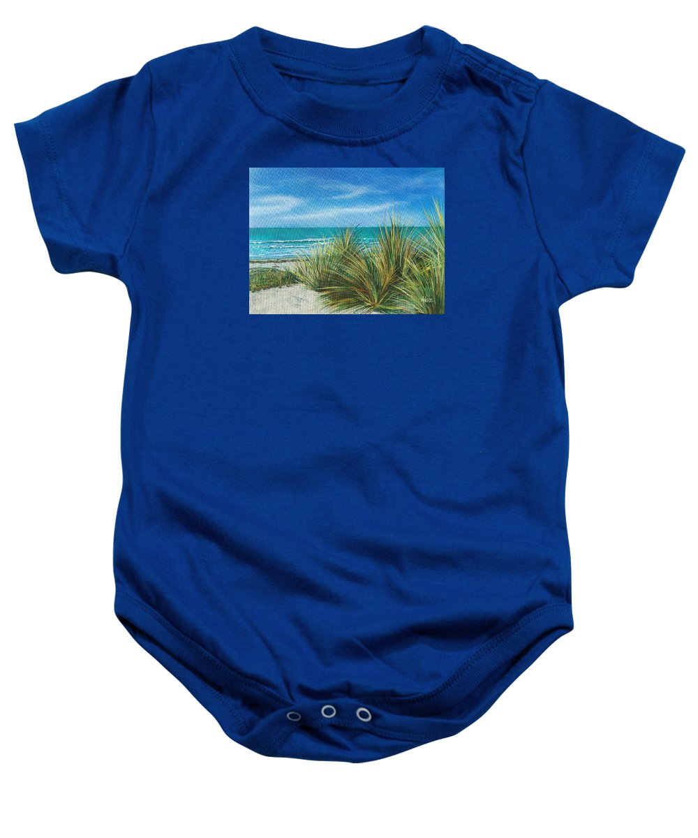 Sea Grass Baby Onesie featuring the painting Surf Beach by Angie Hamlin