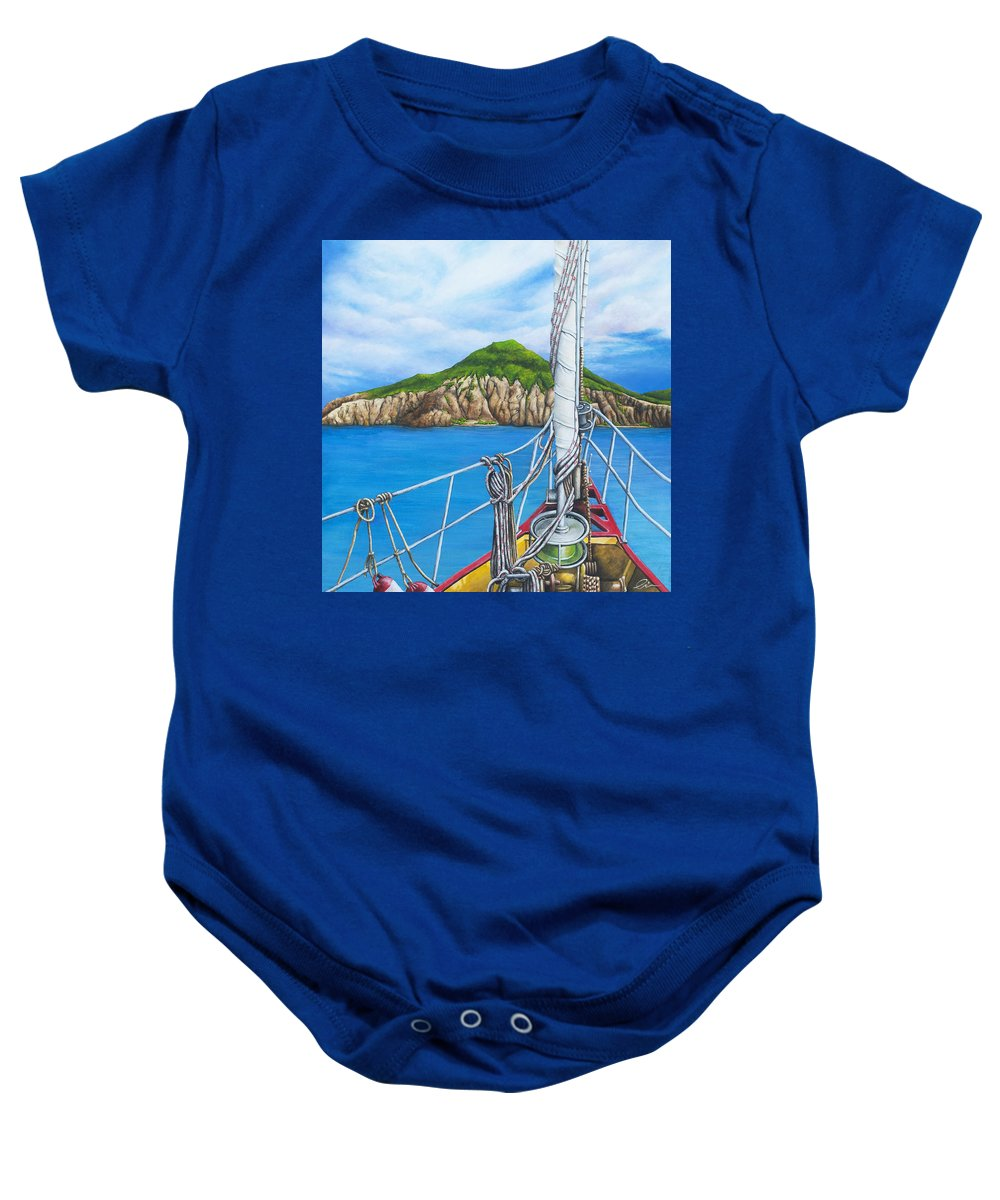 Sint Maarten Baby Onesie featuring the painting Take Me To Saba by Cindy D Chinn