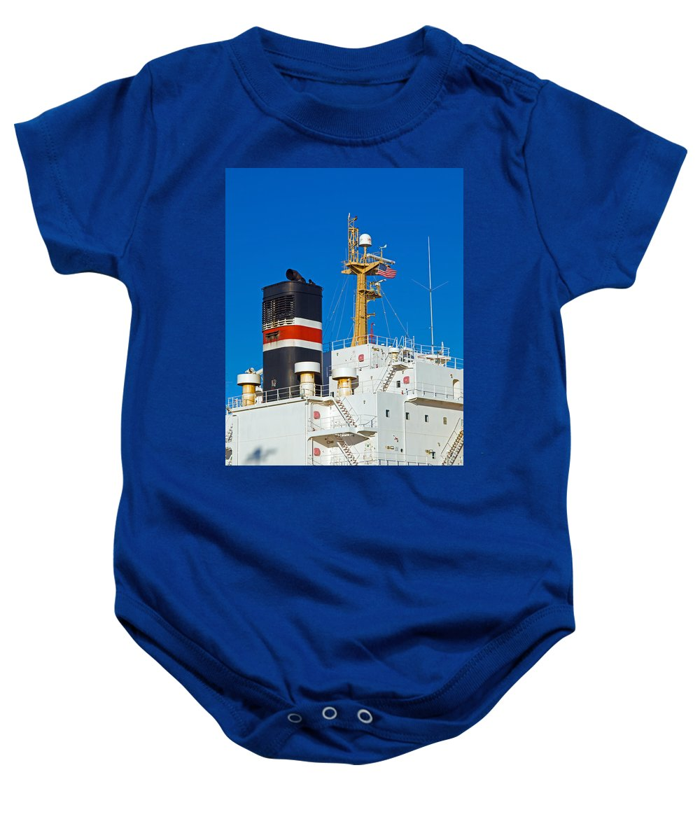 Cape; Canaveral; Port; Florida; Atlantic; Ship; Boat; Freight; Freighter; Bulk; Coal; Unloading; Loa Baby Onesie featuring the photograph Tramp Steamer Unloading Coal At Port Canaveral In Florida by Allan Hughes