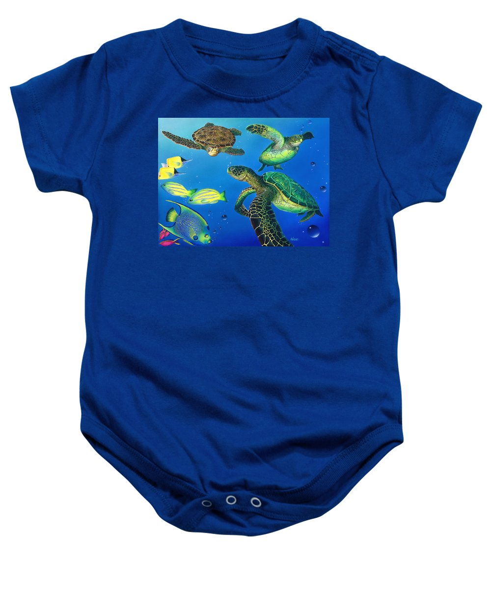Turtle Baby Onesie featuring the painting Turtle Towne by Angie Hamlin
