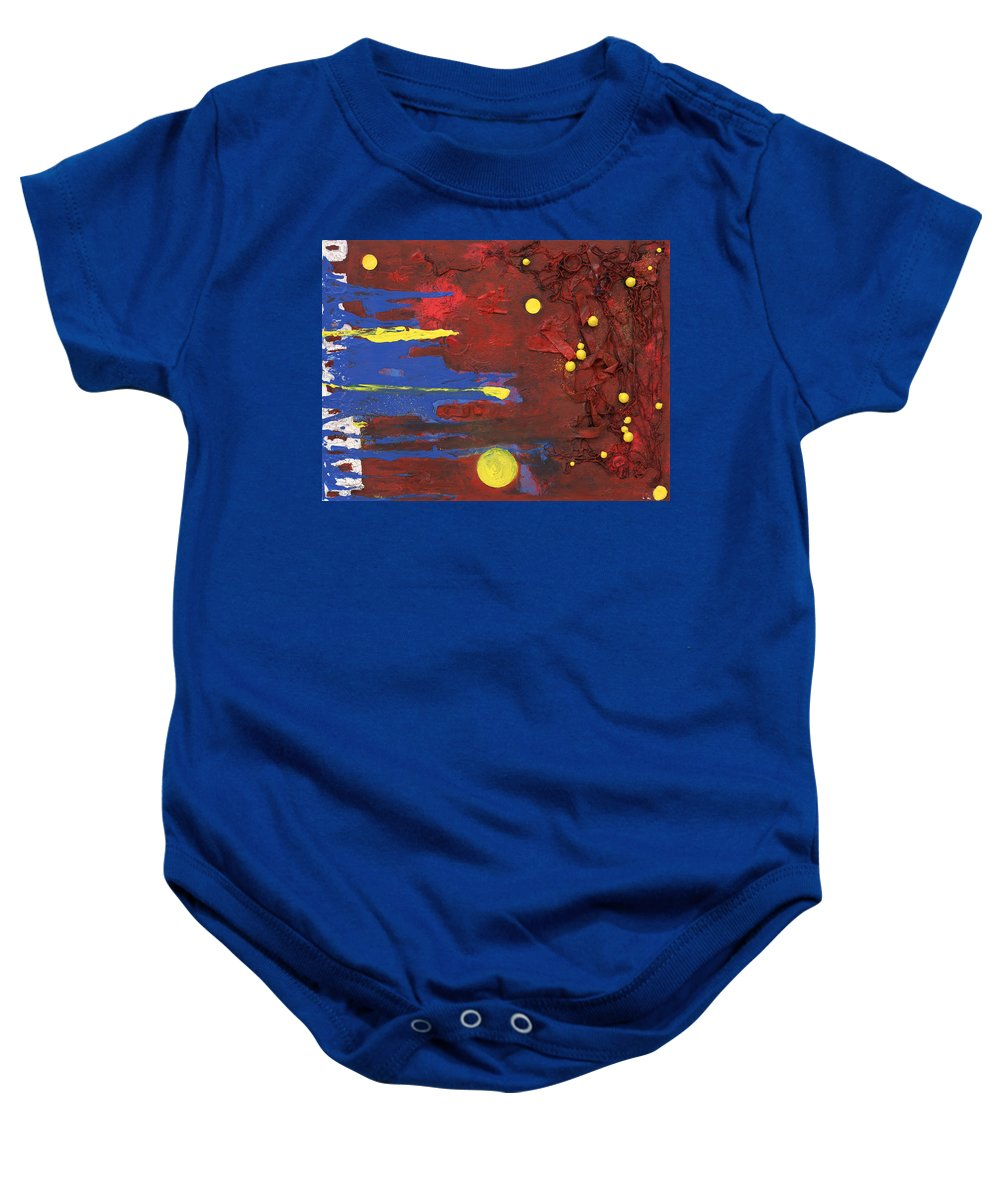 Red Baby Onesie featuring the mixed media Untitled by Jaime Becker