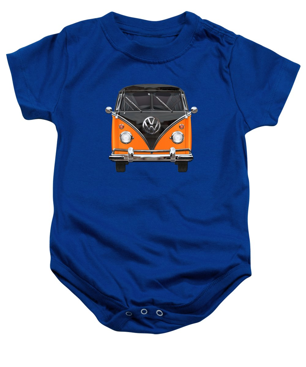 'volkswagen Type 2' Collection By Serge Averbukh Baby Onesie featuring the photograph Volkswagen Type 2 - Black And Orange Volkswagen T 1 Samba Bus Over Blue by Serge Averbukh