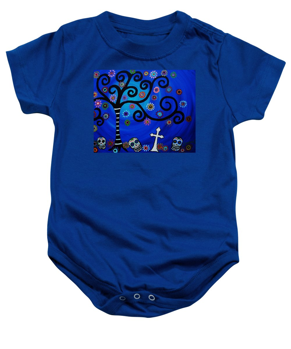 Day Of The Dead Baby Onesie featuring the painting Day Of The Dead by Pristine Cartera Turkus