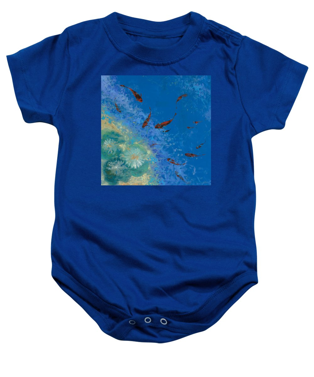 Fishscape Baby Onesie featuring the painting 13 Pesciolini Rossi by Guido Borelli