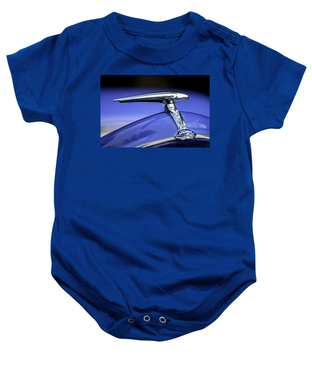 1938 Ford Coupe Baby Onesie featuring the photograph 1938 Ford Coupe Hood Ornament by Jill Reger