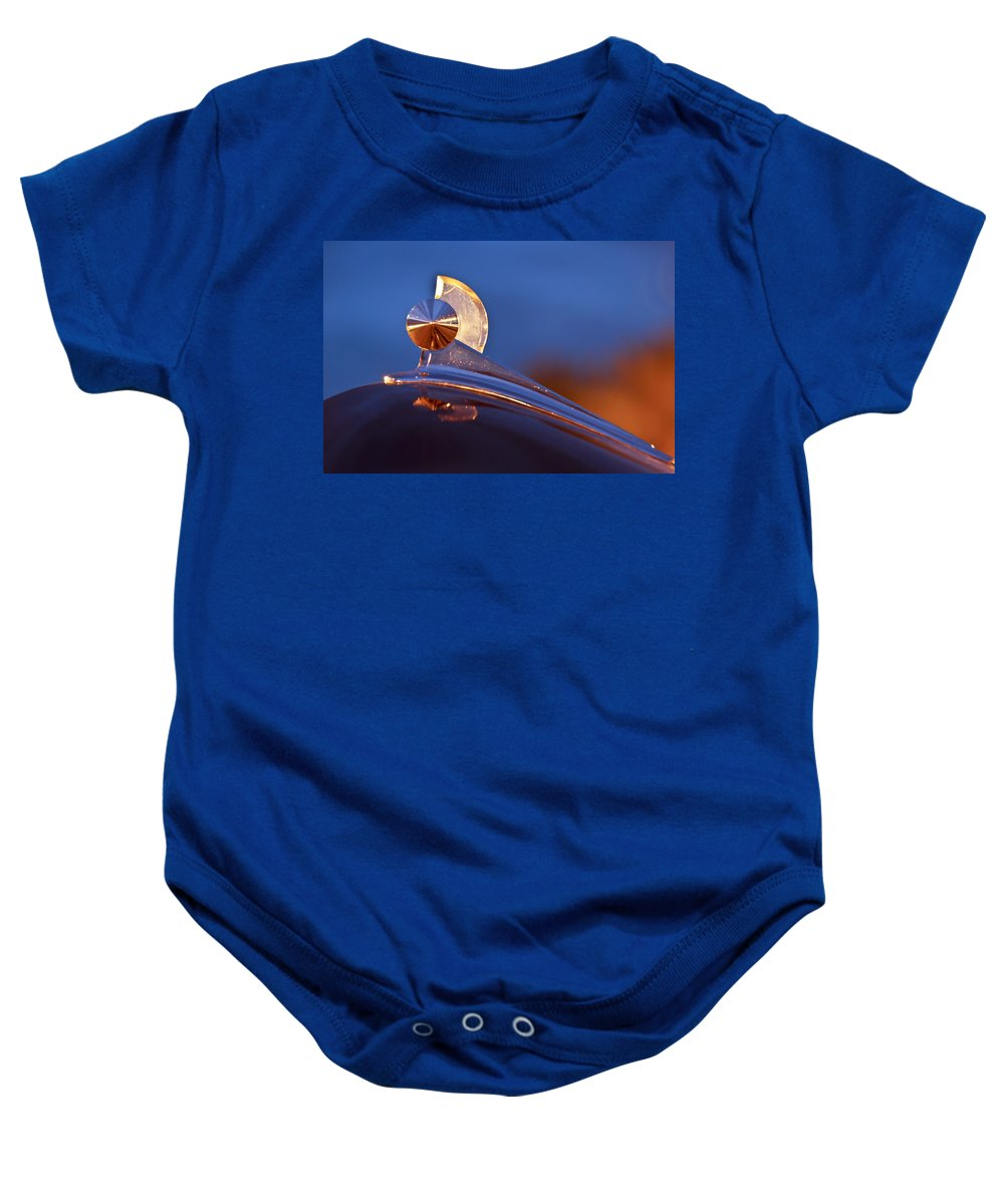 1949 Ford Baby Onesie featuring the photograph 1949 Ford Hood Ornament by Jill Reger