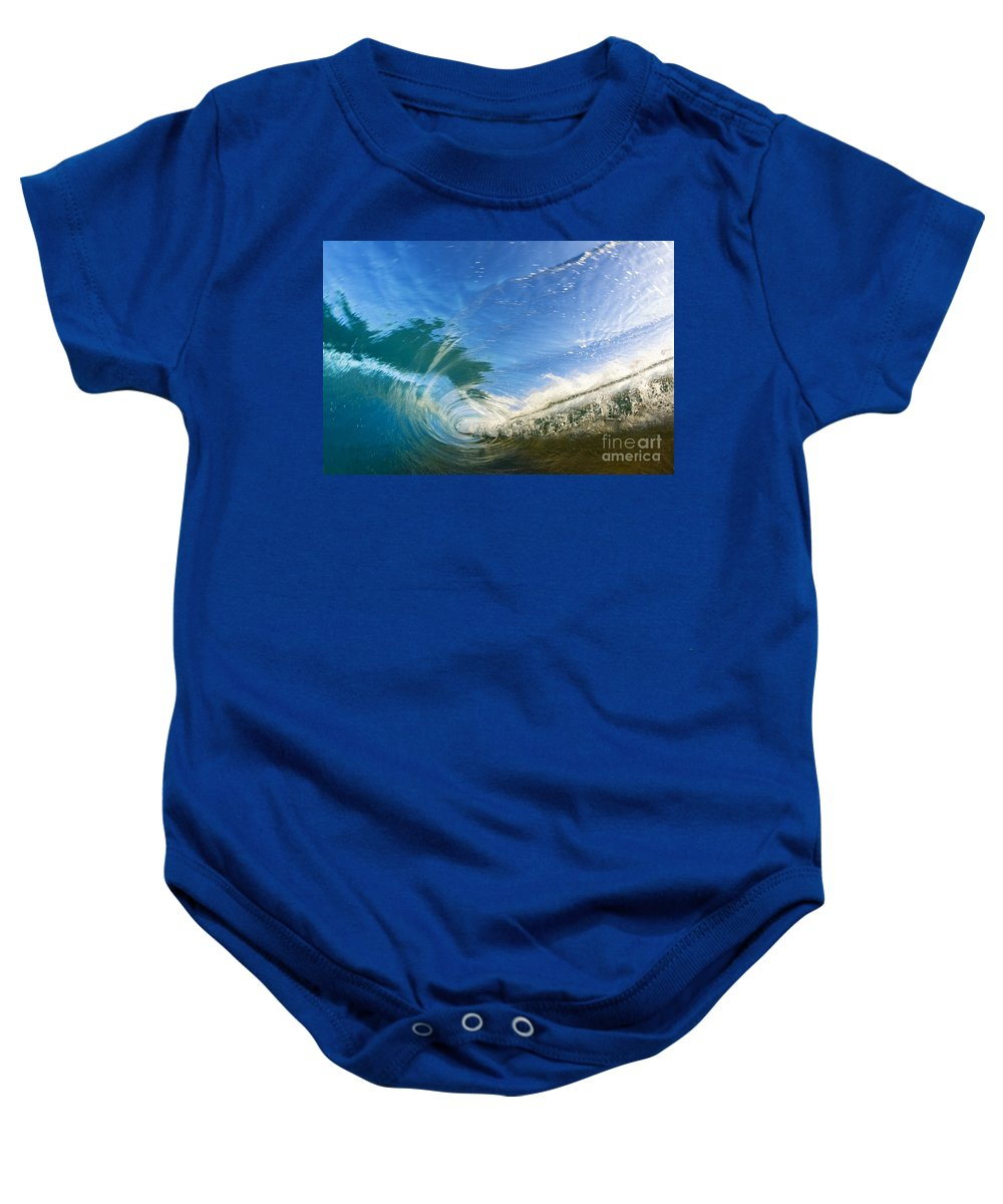 Amazing Baby Onesie featuring the photograph Crashing Wave Tube by MakenaStockMedia - Printscapes